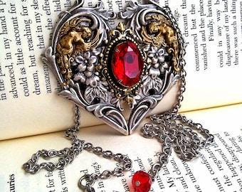 Gothic Necklace Swarovski Necklace Red Crystal Necklace Gothic Heart Necklace Gothic Jewelry Victorian Jewelry
