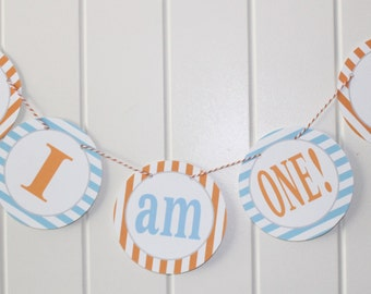 "PREPPY NAUTICAL Theme ""I am One"" Highchair Banner Light Blue Orange"