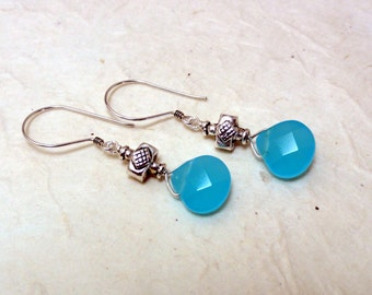 Turquoise Quartz & Silver Earrings