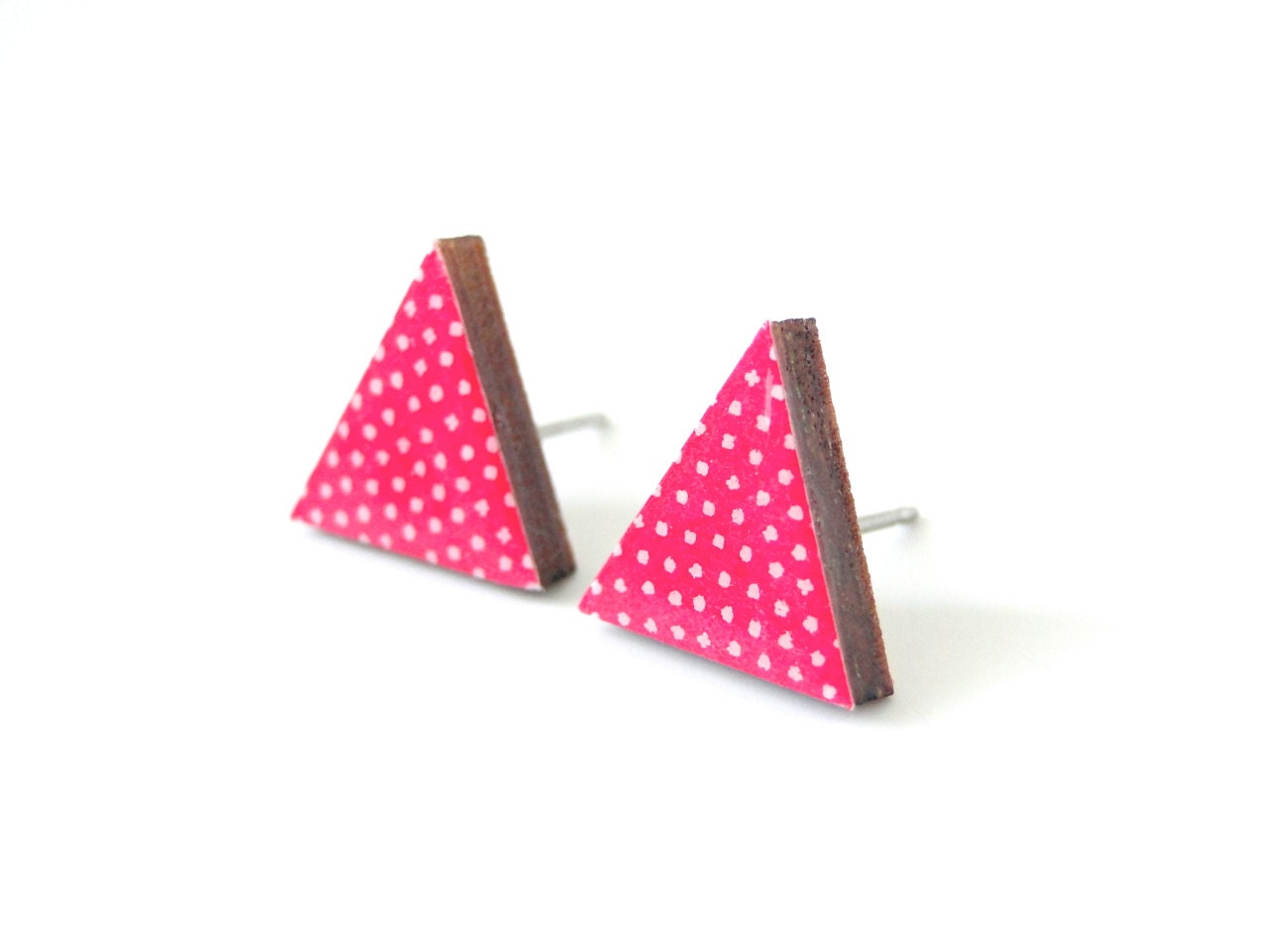 neon pink triangle stud earrings geometric earrings polka