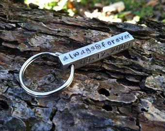 Fathers Day Keychain. 4 sided aluminum necklace. Mens Personalized necklace. Gift for Groomsman Mens Wedding Party Gift