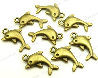 8 Dolphin Charms (Double Sided) Antique Bronze Tone Metal 14x23mm - Nautical Pendants - BG24