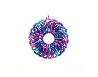Chain Maille Pendant, Spiral Jump Ring Pendant, Multicolor Jewelry, Aluminum Jewelry