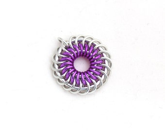 Violet Pendant, Chainmaille Jewelry, Spiral Aluminum Jump Ring Pendant