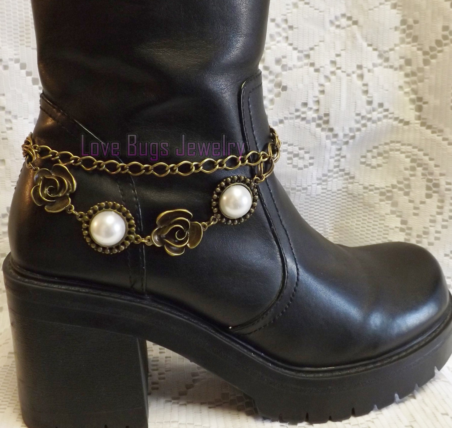 pearls and roses boot jewelry boot bracelet boot bling boot