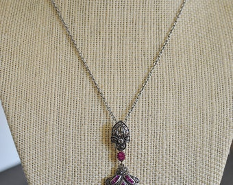PAVE DIAMONDS RUBY sterling silver necklace