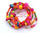 TROPICANA, Eyeglass Chain, Lampwork, HOT, Colourful, Australian Made
