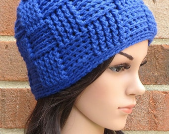 Crochet Beanie Basketweave Hat // THE KENSINGTON // Bright Lapis Royal Blue