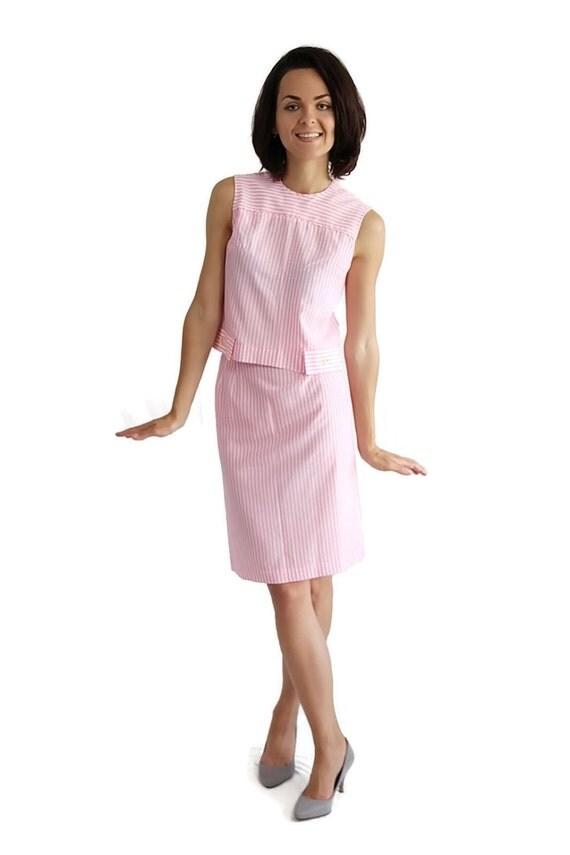 60s Dress / Mod / Mini / Summer Separates / Stripe / Pink / Junior Vogues