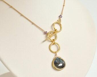 Labradorite Necklace - Labradorite Lariat - Gold filled Necklace - Gold filled Lariat - Teardrop Gemstone Necklace - Green and Gold Necklace