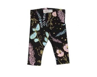Desert Floral Leggings in Blue Mint, Pale Pink, and Yellow Ochre on Black