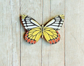 Yellow Butterfly Brooch Insect Jewelry