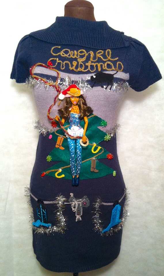 Ugly Christmas Sweater Dress Xs Cowgirl Christmas Cowboy