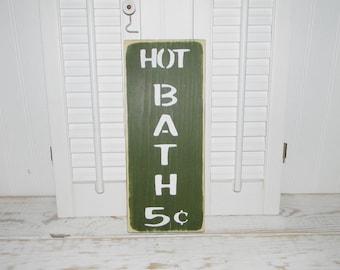 Bathroom Sign Hot Baths Primitive Country Home Decor Signs