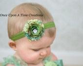 Green Paisley Print Shabby Flower Rose Headband - Newborn Baby Fall or Autumn Hairbow - Little Girls Spring or Summr Hair Bow