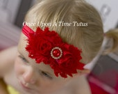Red Shabby Flower Rose Headband - Pearl Photo Prop - Newborn Baby Hair Bow - Little Girls Hairbow - Christmas, Valentines Day Bows