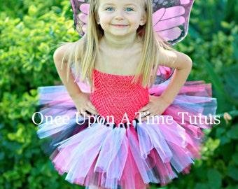 Hot Pink Monarch Tutu Dress - Newborn Baby 3 6 9 12 18 24 Months 3T 4T 5 6 .. Pink Black White Monarch Butterfly Halloween Costume