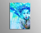 COMMISSIONED Colorful Children's Portraits, mixed media on canvas, hand-painted, bright, fun, kids art