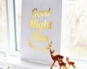 Gold Foil Print GOOD NIGHT KISS - Metallic Nursery Art