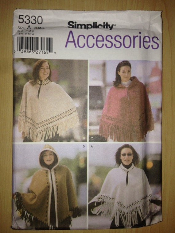 Simplicity Sewing Pattern 5330 Misses Capes and Ponchos Size S, M, L