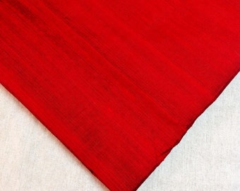 Indian Silk Fabric - Pure Silk Dupioni - Raw Mulberry Silk - Deep Red  Raw Silk - Indian Dupioni Silk - Dupioni Silk  by Yard