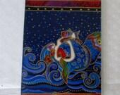 Passport Cover Mermaids Laurel Burch Designer Fabric & Vinyl Destination Wedding Favor Teams Cruise Travel Accessory Notepad Cover Gift Card