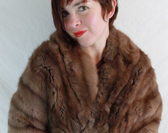 1950s 1960s Russian Dyed Brown Squirrel Fur Cape Stole Wrap with Original Receipts