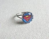 Superman Ring, Comic Book Superhero Glass Cabochon, Silver Ring