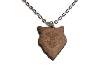 Courage Wolf Necklace, Wooden Pendent, Meme