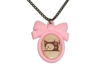 Cute Sewing Machine Necklace, Light Pink Pastel Cameo Kawaii