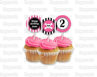 Printable DIY Pink and Black Pirate Theme Personalized Happy Birthday Cupcake Toppers Digital File