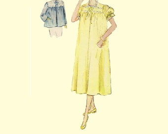 Vintage Bed Jacket Simplicity 40s Sewing Pattern Nightgown Sleep Shirt Lingerie Negligee Nighty House Dress Plus Size Bust 42