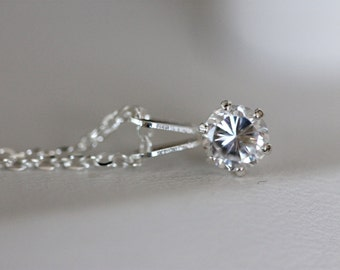Faux diamond half carat solitaire on sterling silver chain, princess cut diamond cubic zirconia pendant, brilliant cut fake diamond necklace