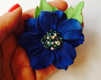 Cobalt blue leather flower brooch, Brooch in royal blue, Handmade flower brooch, Mother of the bride flower, Bridesmaid gift, Grooms corsage