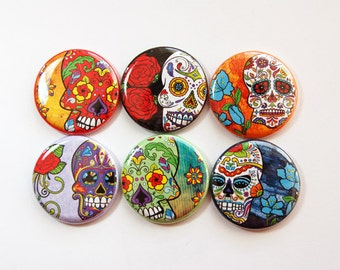 Sugar Skull Magnets, Magnet set, Magnets, button magnets, Fridge Magnets, Kitchen Magnets, Sugar Skull, skulls, Dia de los Muertos (3653)