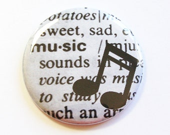 Pocket mirror, Music Mirror, purse mirror, gift for her, Black, White, gift for music lover, mirror for purse, travel mirror (4329)
