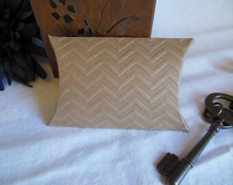 Chevron Stripe Textured Kraft Pillow gift box - 10 pcs rustic wedding shower party favor