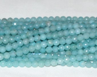 "Amazonite 6mm Round Faceted Gemstone Beads A - 15.75"" Strand"