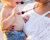 ORGANIC COTTON Nursing Necklace - Black, Pink - Mum Necklace, Breastfeeding, Babywearing, Organic Baby Teether - FrejaToys