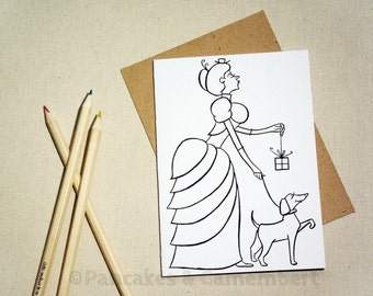 Coloring card - French lady