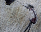 Storm.    2009     Original Oil  painting print on  Stretched Canvas Fine Art Print Painting Rain Umbrellas
