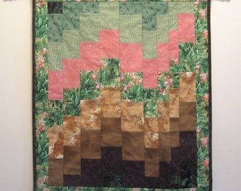 """Bargello Quilted Wallhanging """"Woodland Orchids"""" Ladyslipper Orchids, Quilted Home Decor, Small Quilt, Quiltsy Handmade"""