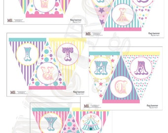 Pretty Pastel Circus & Carnival Birthday Banner