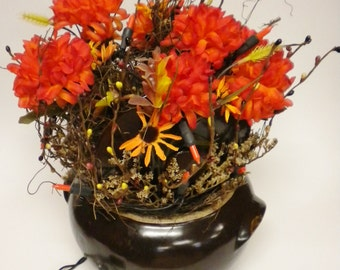 Vintage Bean Pot Lighted Flower Arrangement, Halloween Decor, Primitive Fall Decor