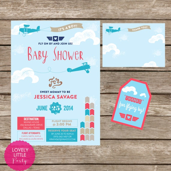 3 Piece Printable Vintage Airplane themed Baby Shower Invitation Kit