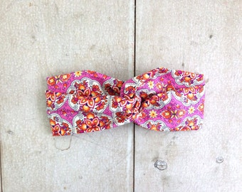 Pink Patterned Turban Wrap Headband