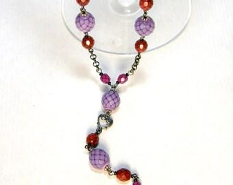 Purple Glass Ripe Berries on Gunmetal Rosary Chain With Gunmetal Milagro Sacred Heart OOAK