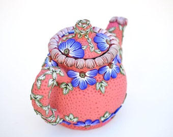 SALE! In the Garden Mosaic Polymer Clay Teapot