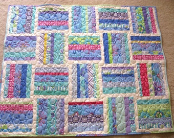 Homemade Patchwork Baby Quilt - Girl or Boy - Baby Quilt - Soft Minky Back - Patchwork Quilt