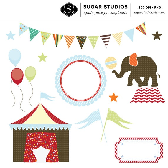 Circus Digital Clip Art for Personal & Commercial Use - Apple Juice for Elephants - INSTANT DOWNLOAD